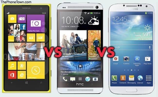 Nokia Lumia 1020 v.s HTC One v.s Samsung S4, from thephonetown.com