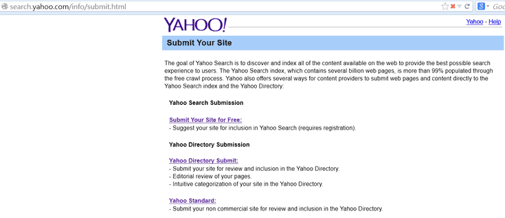 Yahoo Submit Your Site