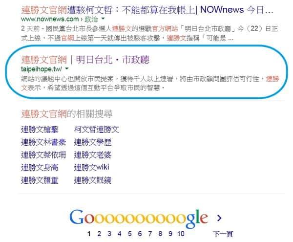 以「連勝文官網」為關鍵字的Google搜尋結果