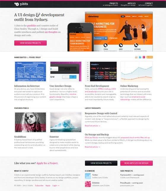 網頁設計極簡派風格:51bits, via http://51bits.com