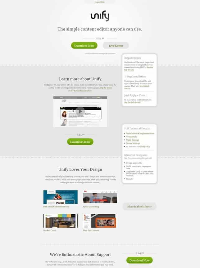 網頁設計極簡派風格:Unify, via http://unify.unitinteractive.com