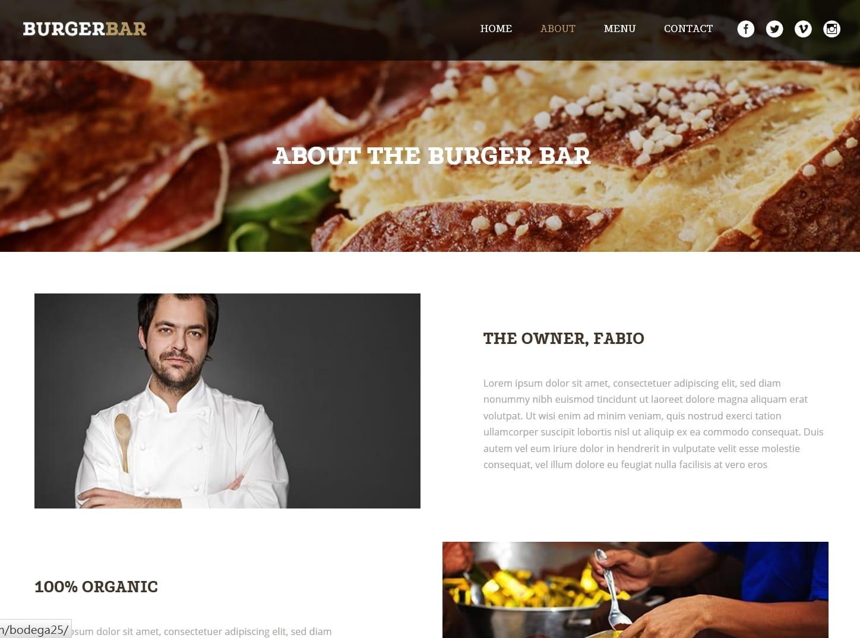 表面功夫版型參考-餐飲服務業-BurgerBar-About Page