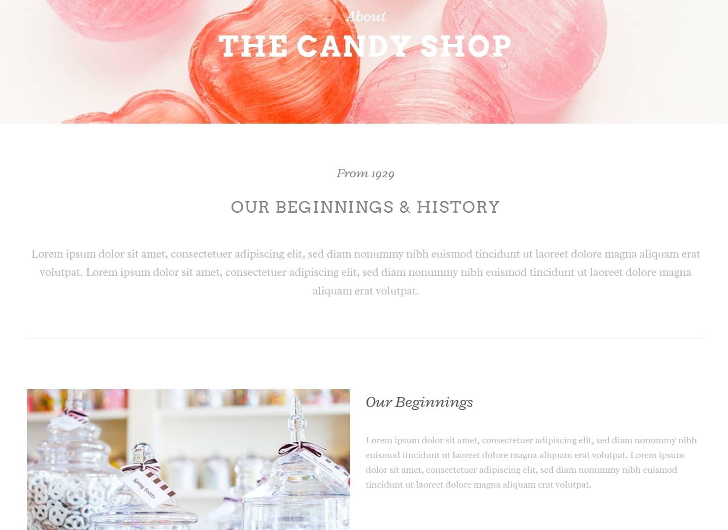 表面功夫版型參考-餐飲服務業-Lollipops-About Page