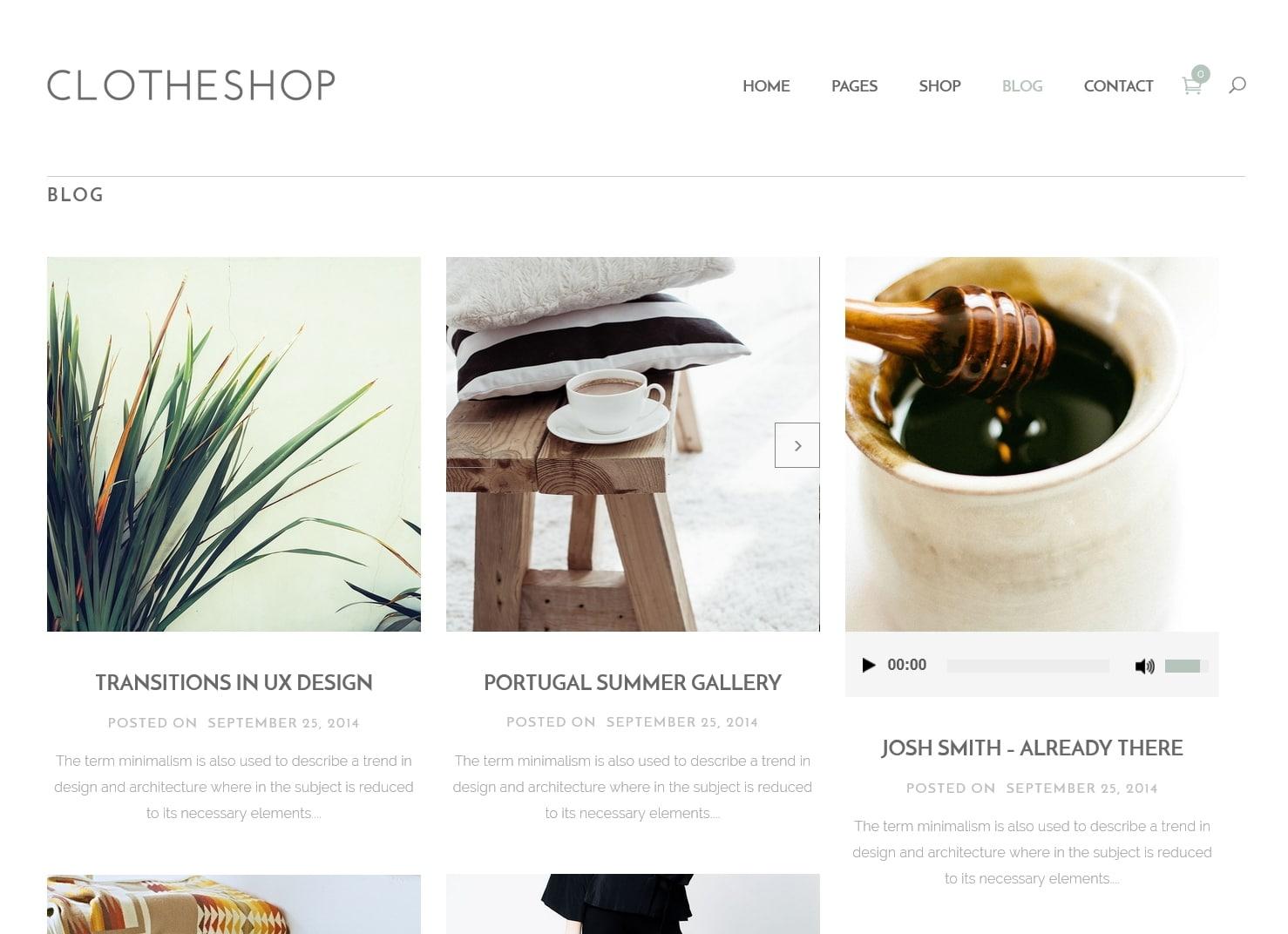 表面功夫版型參考-輕柔風格購物網站-Blog