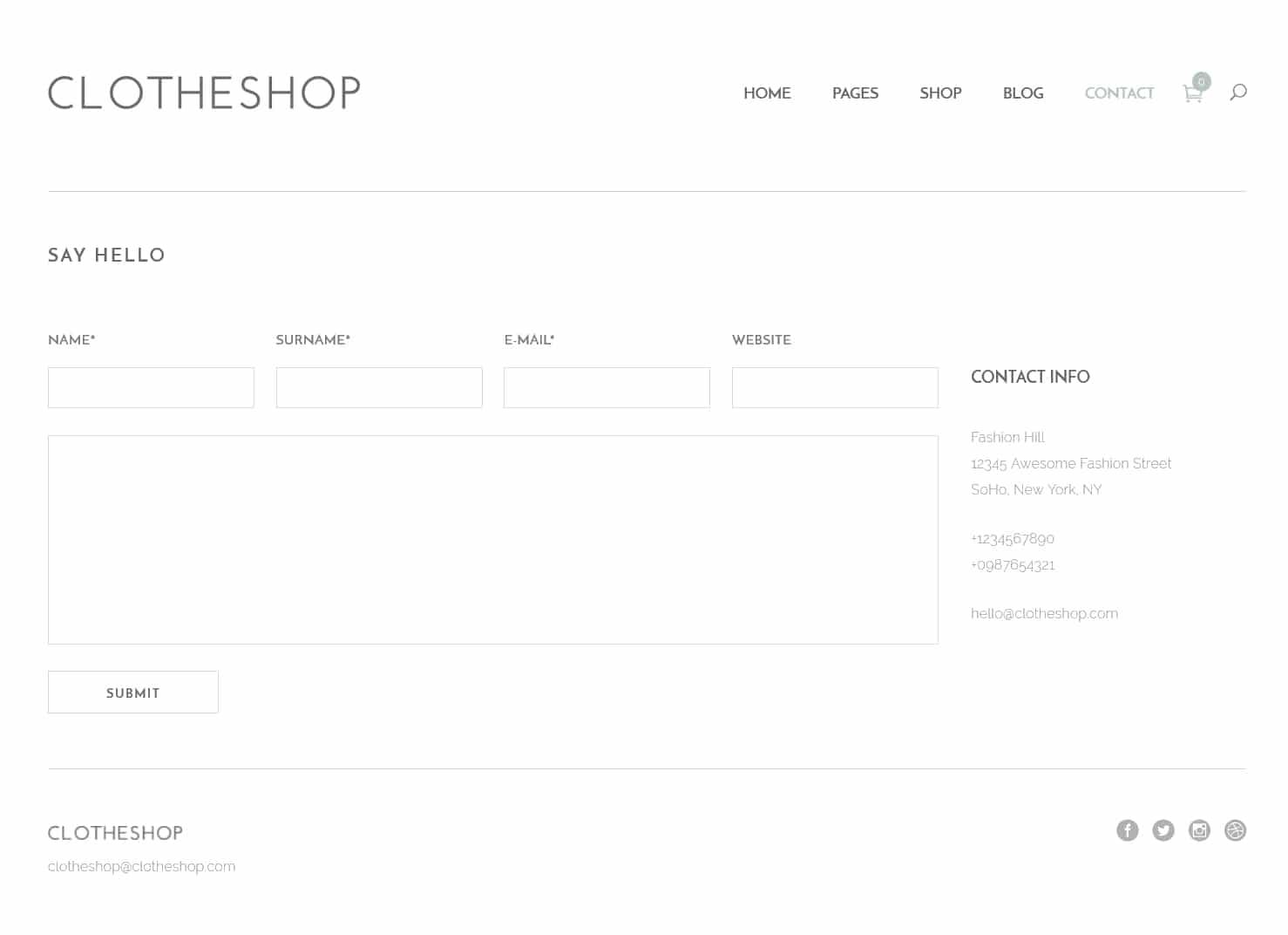 表面功夫版型參考-輕柔風格購物網站-Contact