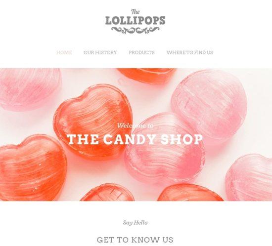 表面功夫版型參考-餐飲服務業-Lollipops-Home Page A-1