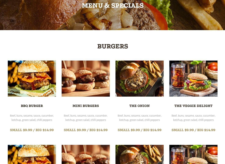表面功夫版型參考-餐飲服務業-BurgerBar-Menu-Column Items