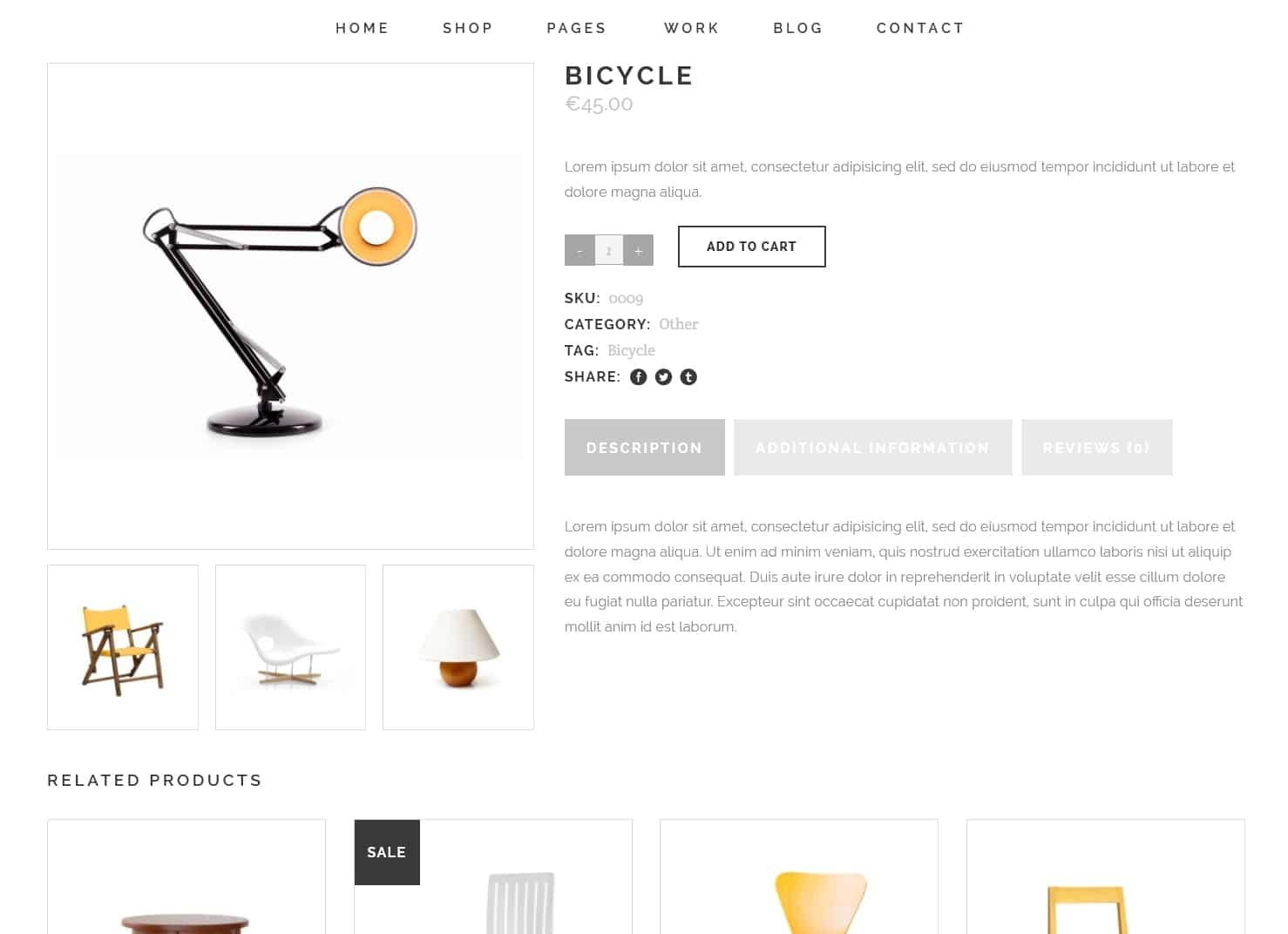 表面功夫版型參考-極簡現代風格購物網站-Single Product Page