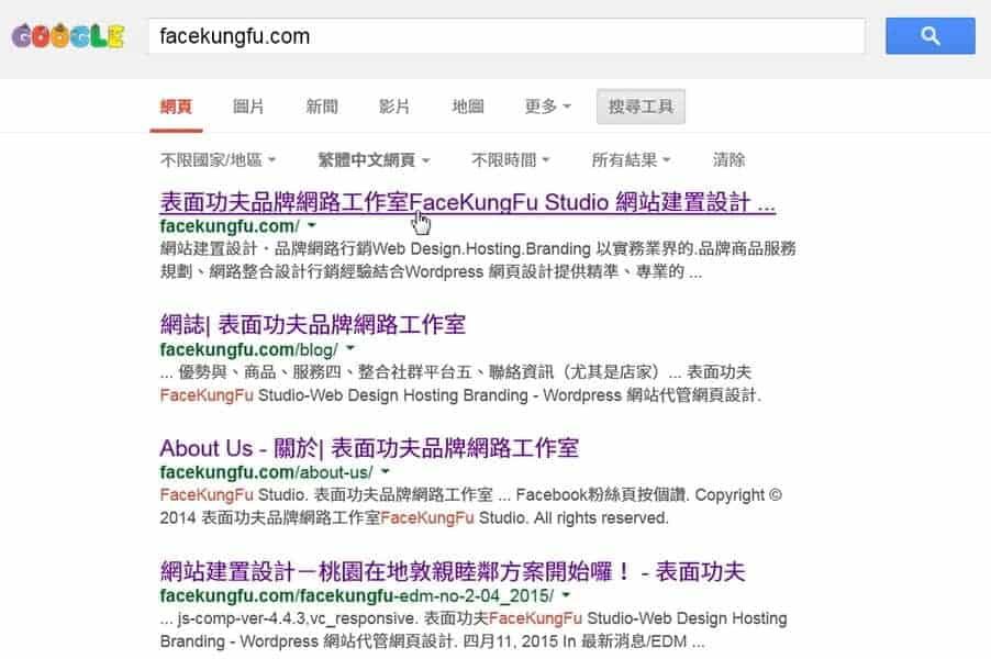 SERP搜尋引擎結果頁面, via facekungfu.com
