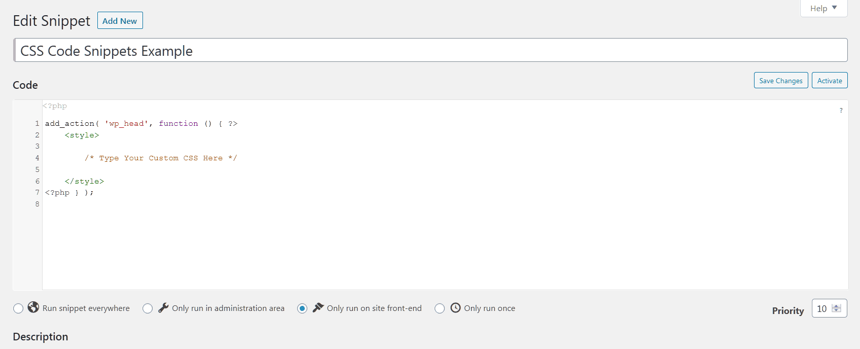 Example - Custom CSS in WordPress - Code Snippets