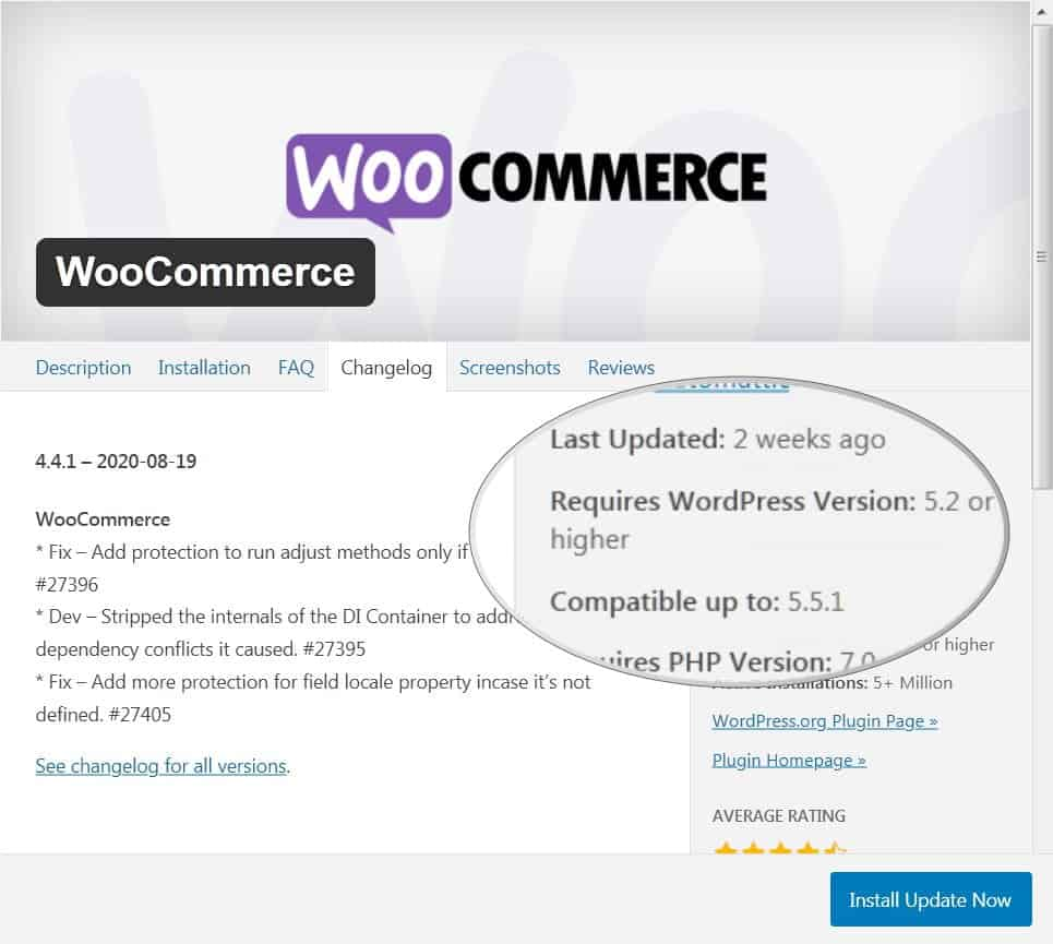 Check the compatibility of plugins with WordPress (e.g. WooCommerce)