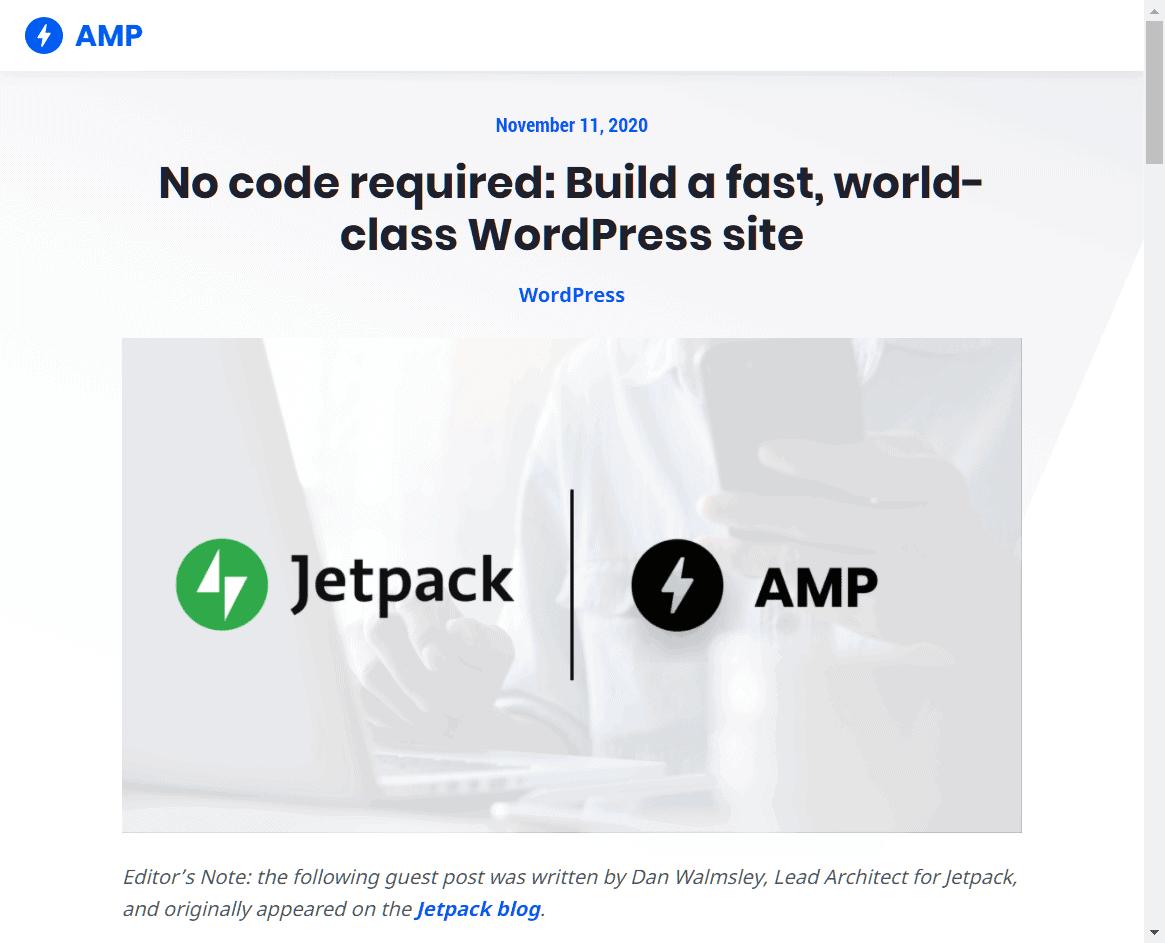 No code required Build a fast, world-class WordPress site  via blog.amp.dev 20201111