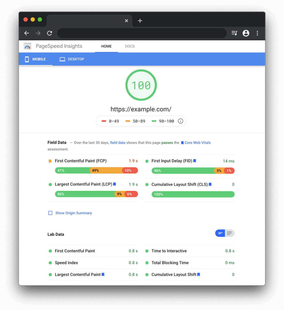 PageSpeed Insights (PSI) reports via Google