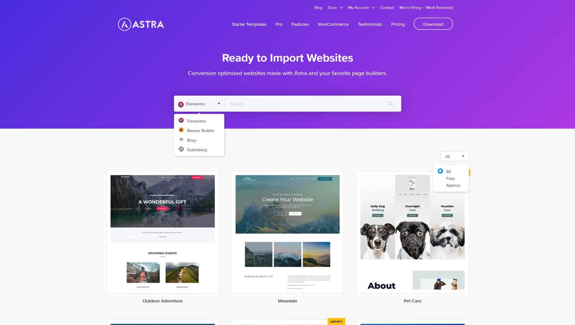 Ready to Import Starter Websites with Astra WordPress Theme