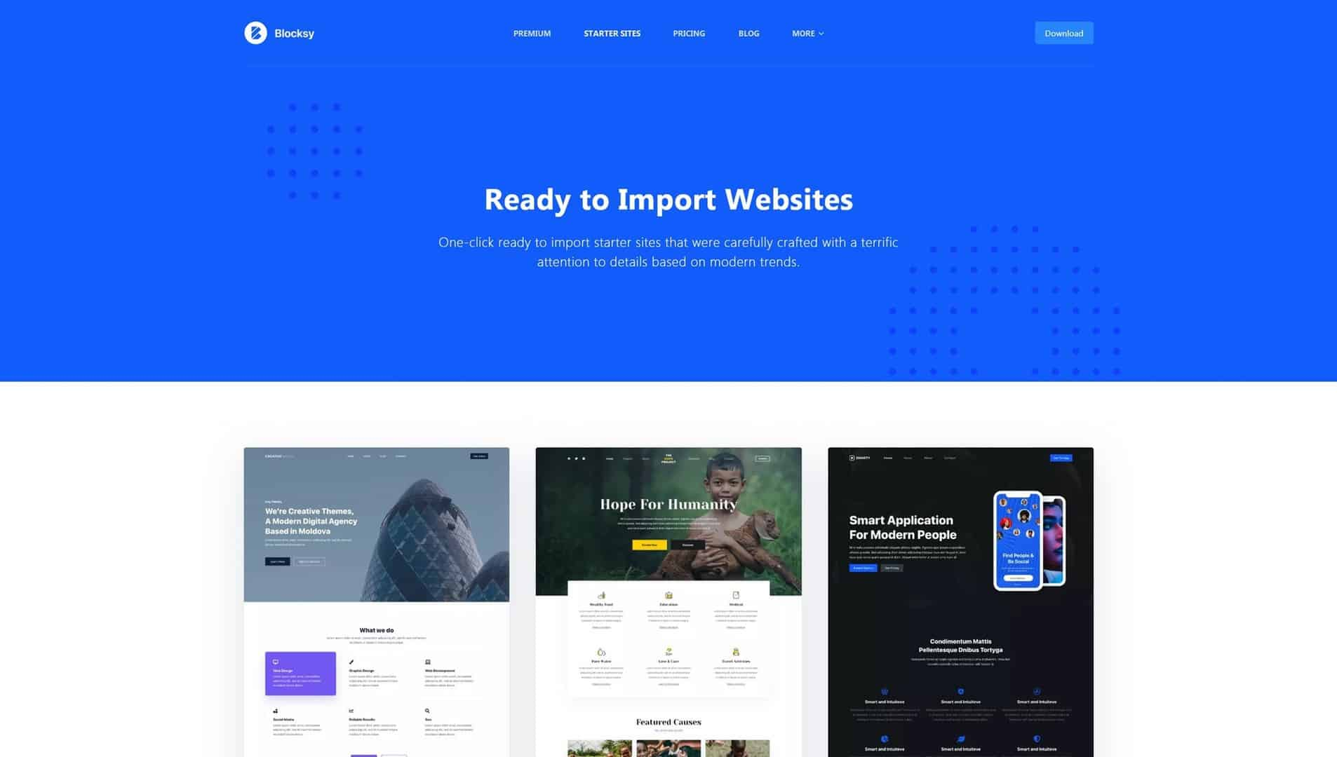 Ready to Import Starter Websites with Blocksy Theme