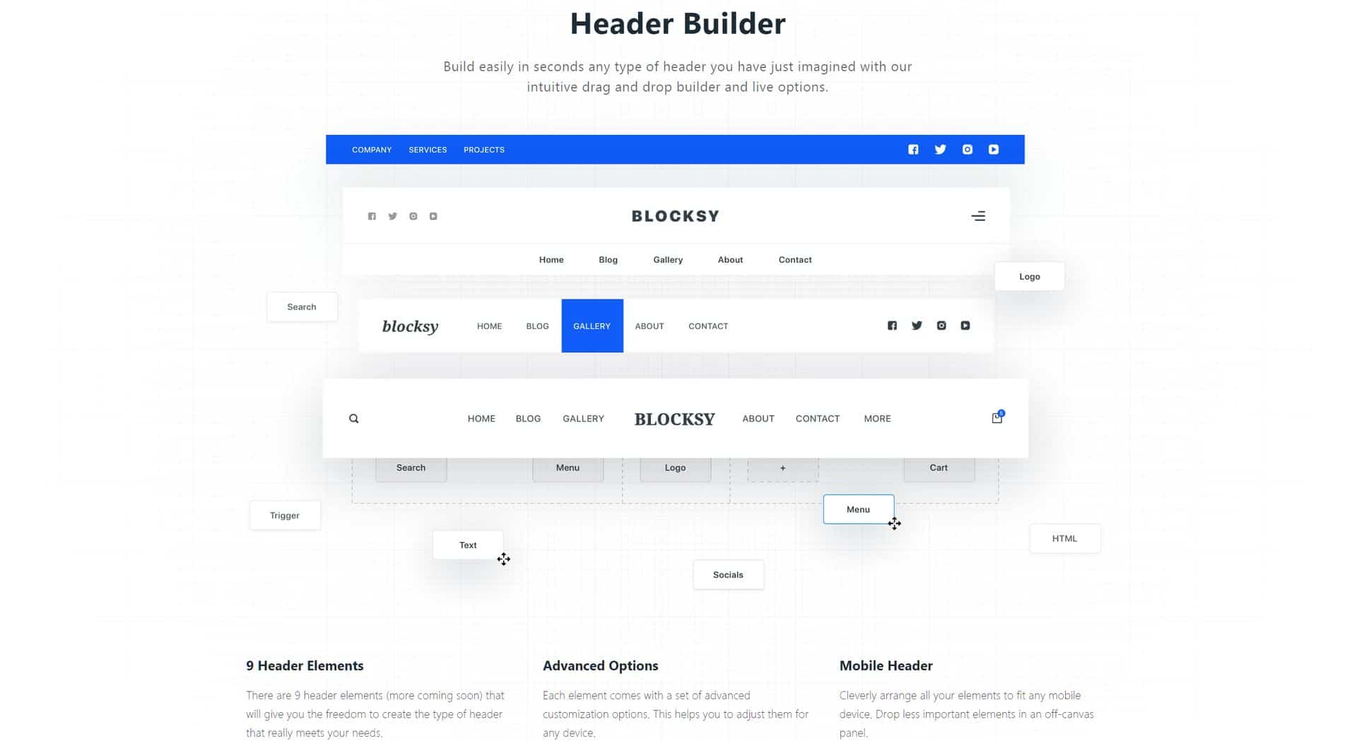Blocksy Theme - Drag and Drop Header Builder