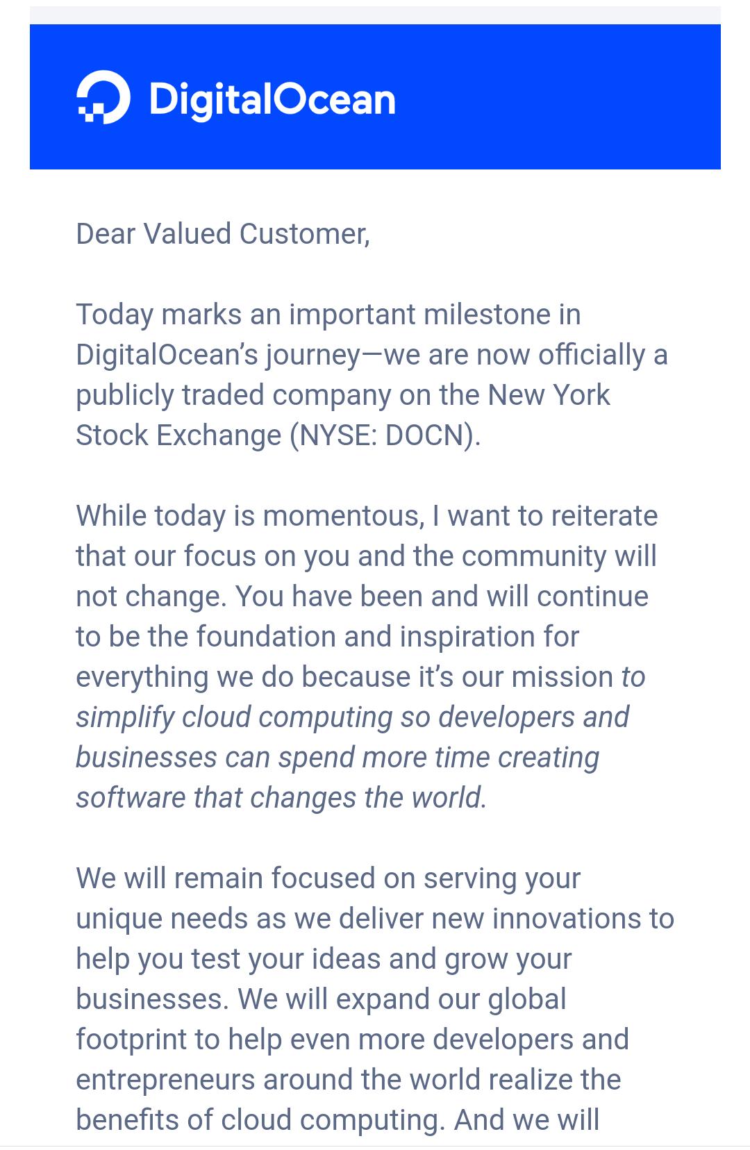 DigitalOcean 不只賣主機也賣股票囉
